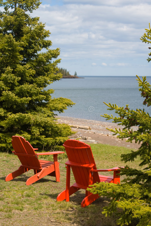 Download Two Red Adirondack Chair stock photo. Image of cottage - 5570462