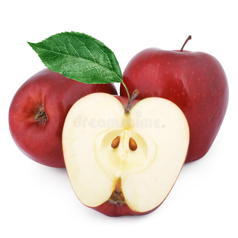 Two red apples and half royalty free stock image