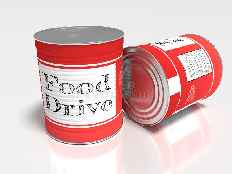 Two red cans on white with a label showing food drive stock illustration