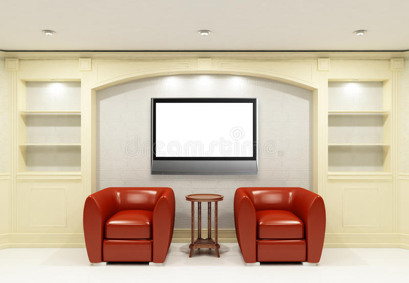 Two red chairs with table with LCD tv. In empty library room stock illustration