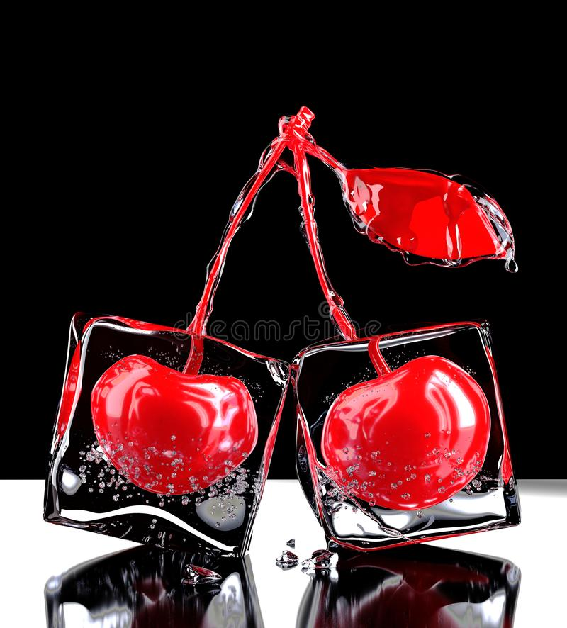 Two cherries with ice. 3D rendering. Two red cherries in syrup in clear ice cubes are on the table. Black background. 3D visualization royalty free illustration