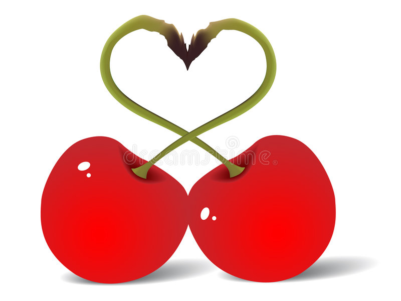 Two red cherry love. Vector illustration stock illustration