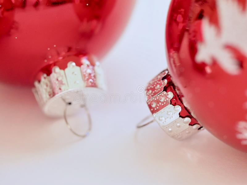 Two Red Christmas Ornaments royalty free stock images
