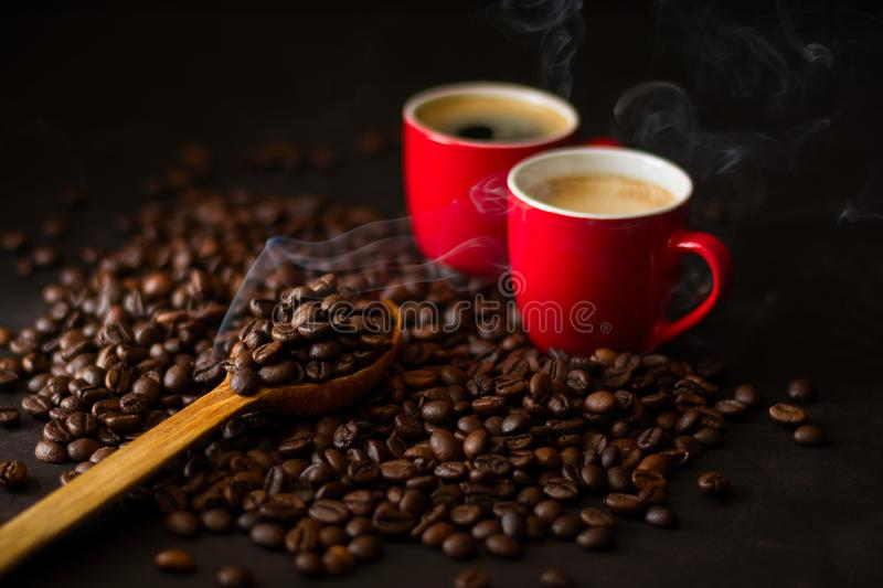 Two red cups of espresso royalty free stock images