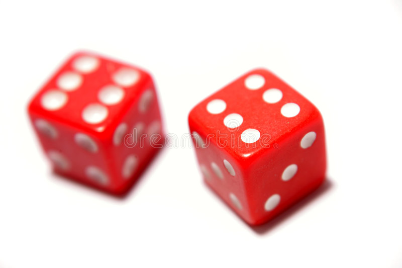 Two red dice stock photo