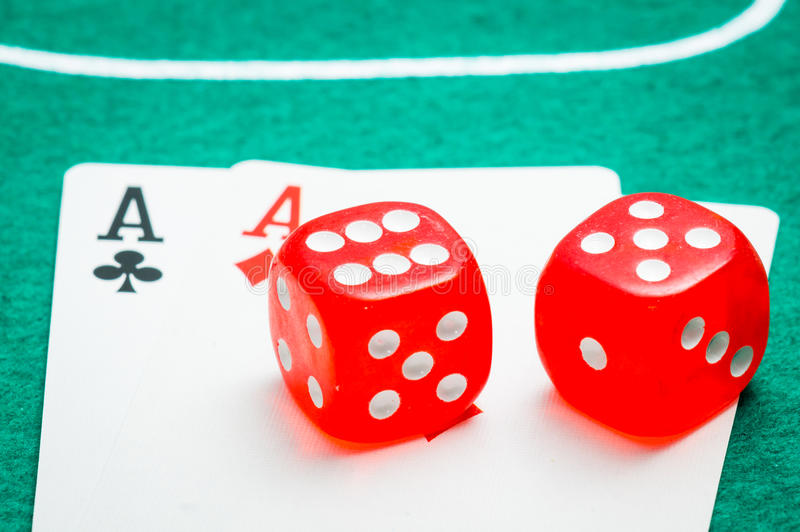 Two Red Dice Stock Photos