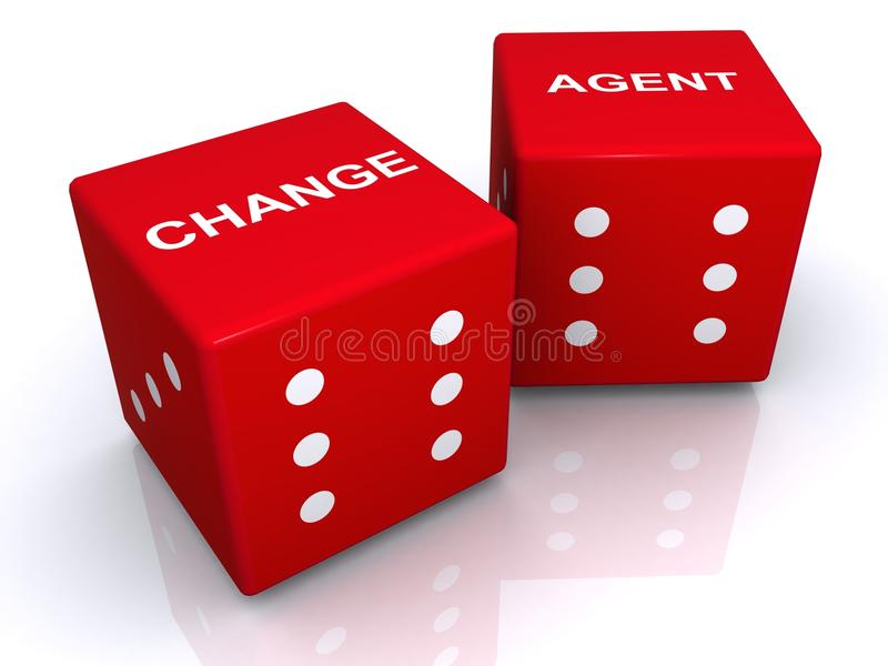 Change agent dice. Two red dice with CHANGE written on top of one and AGENT on top of the other in white, isolated on a white background, reflective white vector illustration