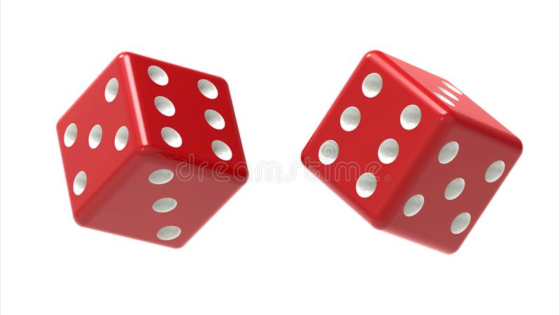Two red dices rolls in the air isolated on white. 3D Rendering royalty free illustration