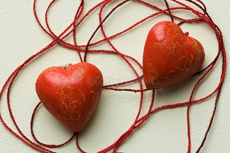 Download Two Red Heart Shapes In Cotton Cobweb Stock Photo - Image: 7581462