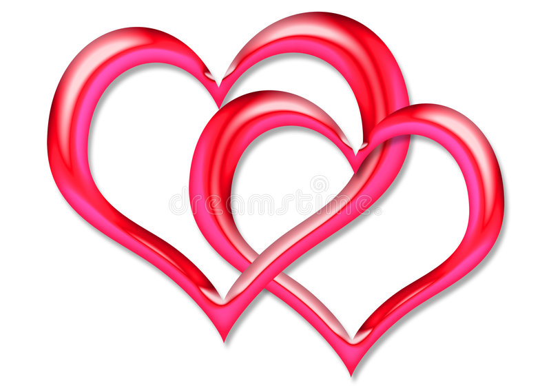 Two red Hearts. Two red linked heart shape stock illustration