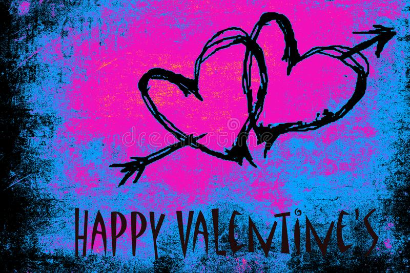 Happy Valentine`s day with psychedelic colors royalty free stock image
