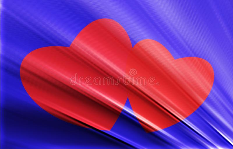 Two red hearts on a blue textured background. stock photos