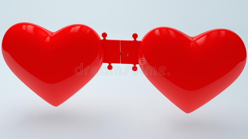 Two red hearts connected with puzzle pieces royalty free illustration