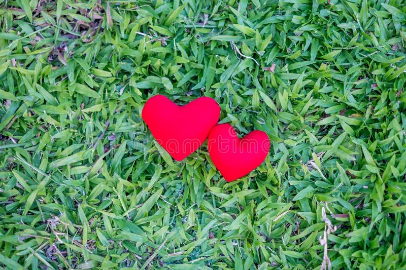 Two red hearts on a lawn background. Holiday Valentine`s Day, wedding royalty free stock photos