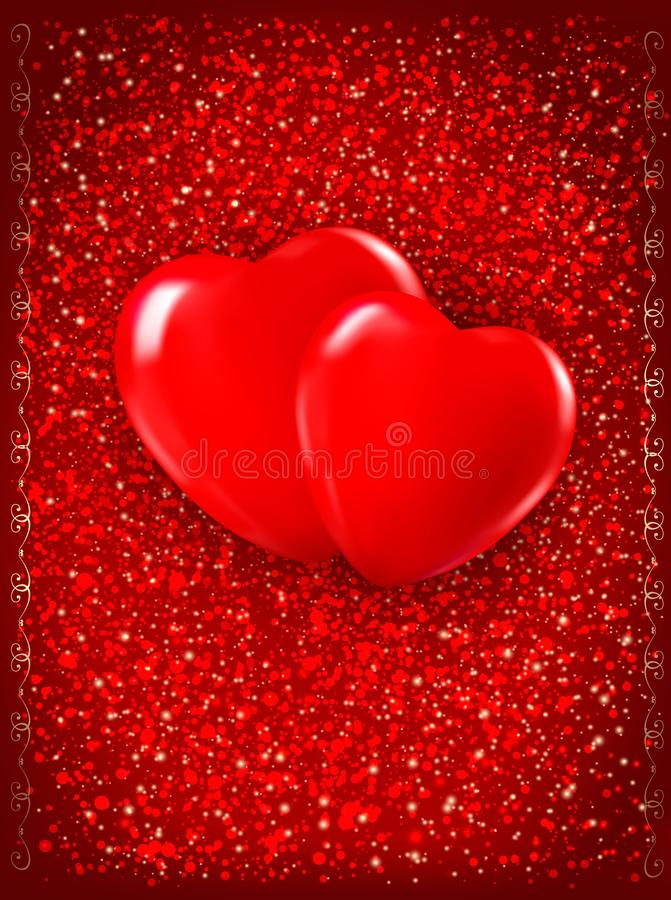 Download Two Red Hearts On Red Background. Stock Photos - Image: 28880553