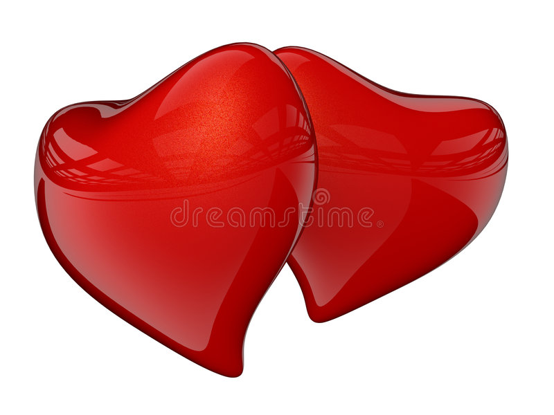 Two red hearts with reflection royalty free illustration