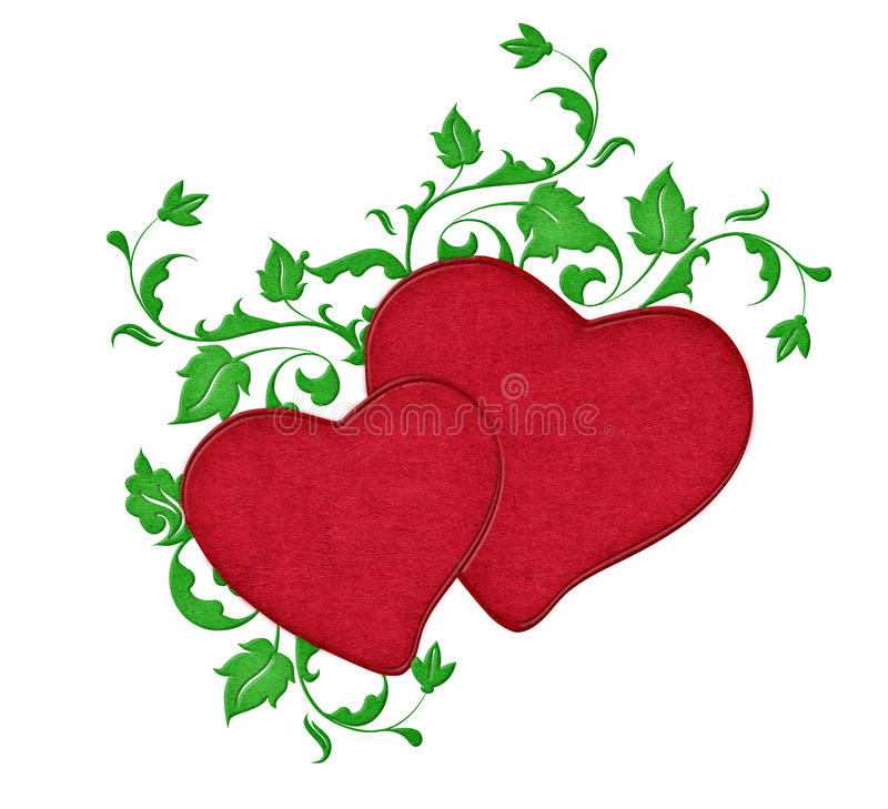 Download Two Red Hearts with Vines stock illustration. Image of graphic - 18275408