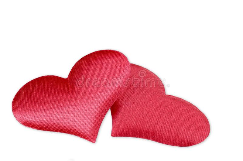 Two red hearts on a white background royalty free stock image