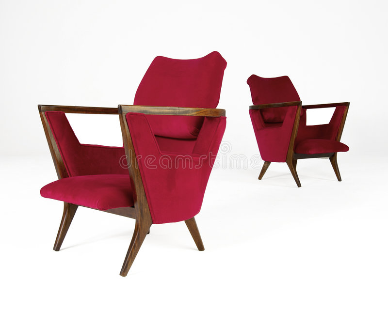 Two Red Modern chairs royalty free stock photography
