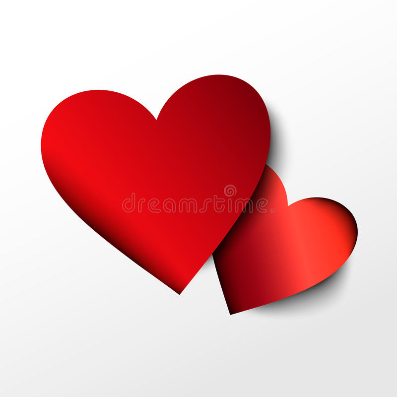 Two red paper hearts on white background. Vector icon stock illustration