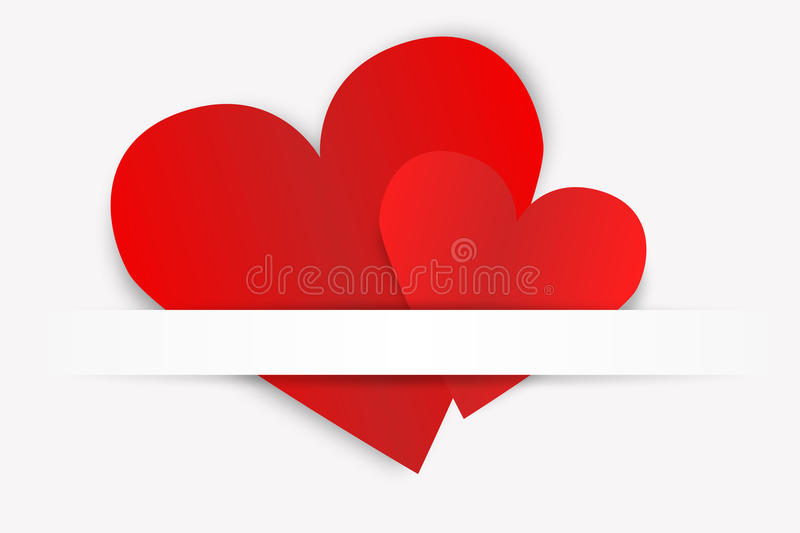 Two red paper hearts stock illustration