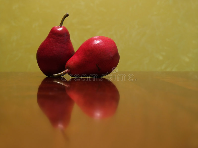 Two red pears stock images