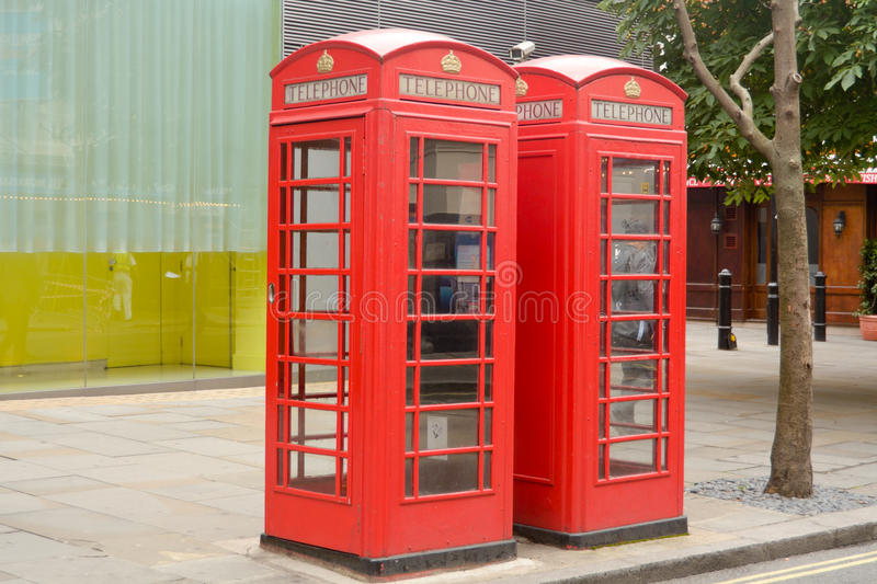 Two red phone boxes. In London stock photo