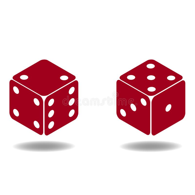 Two red poker cubes. 3D stock illustration