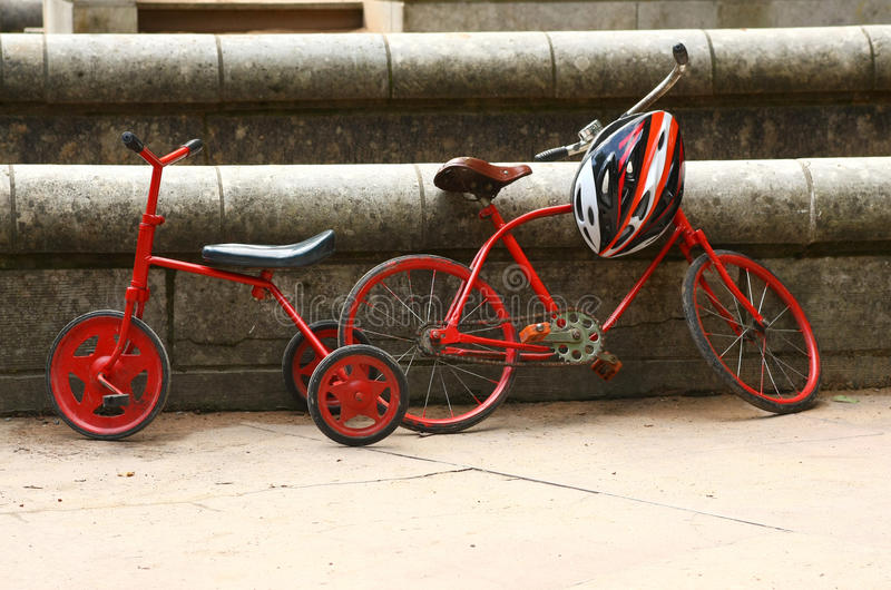 Download Two red retro bicycles stock image. Image of tyres, bike - 15886633