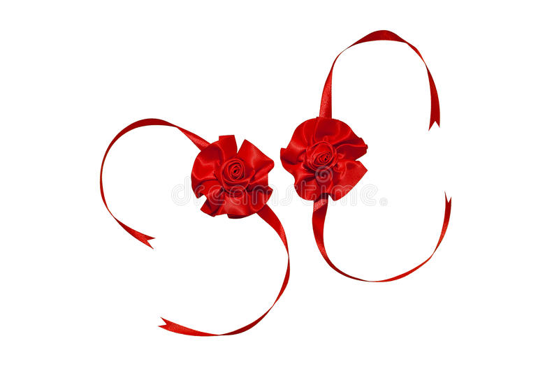 Two red ribbon rose. Isolated on white background stock photo