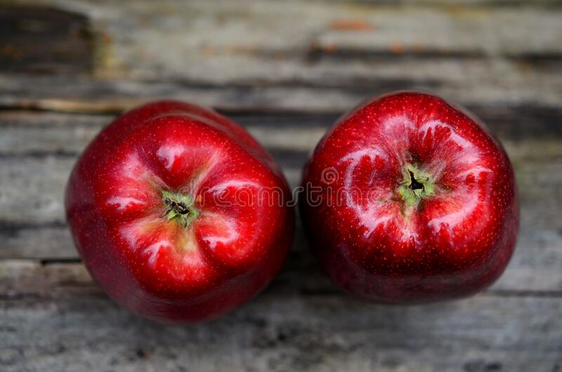 Two Red Ripe Apple on Gray Table stock photos