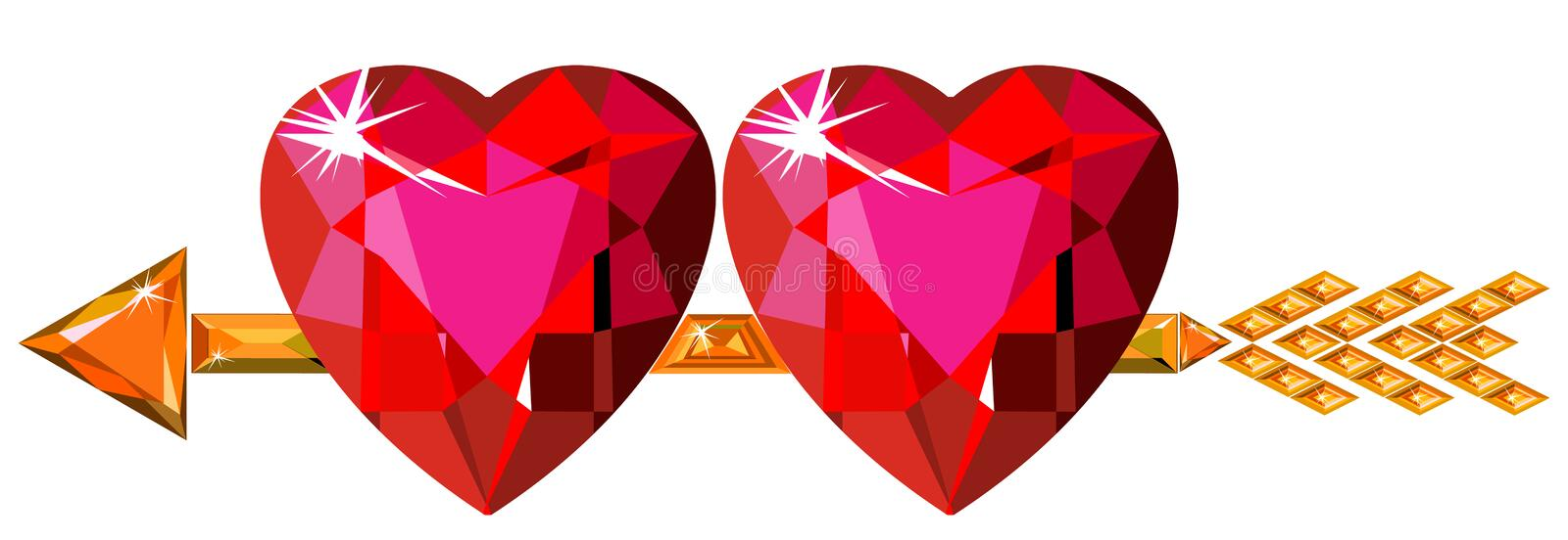 Two red ruby hearts struck by Cupid arrow. Vector illustration of two red ruby hearts struck by Cupid arrow, isolated on white vector illustration