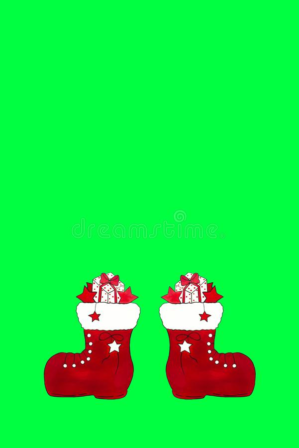 Two red Santa Claus boots with gifts stock image