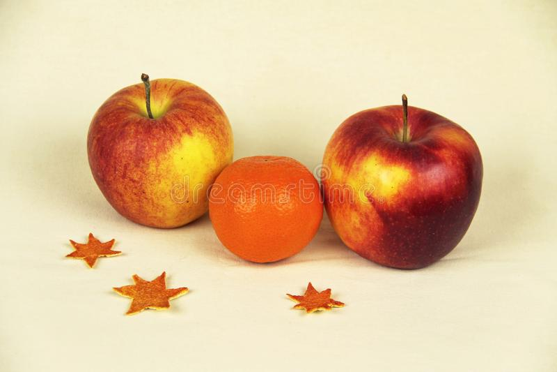 Apples and orange royalty free stock photos