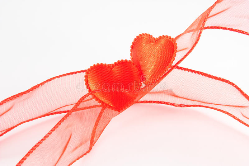 Two reds hearts stock photo