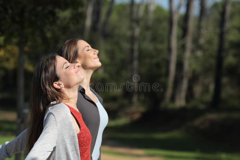 Two relaxed women breathing deeply fresh air in a park.jpg royalty free stock image