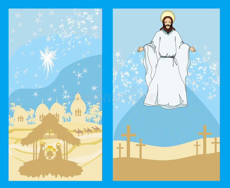 Download Two Religious Images - Jesus Christ Bless And Birth Of Jesus Stock Vector - Image: 35992562