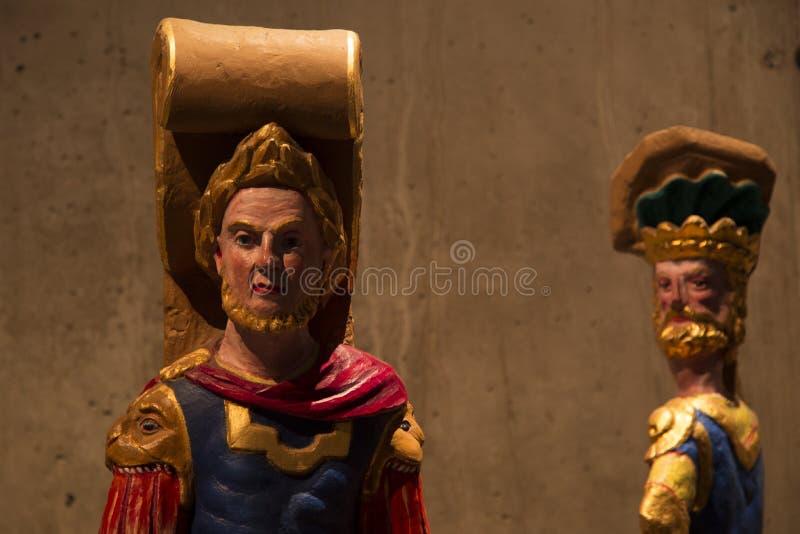 Two replica of Roman Emperor at vasa battleship. stock image