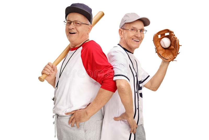 Two retired senior baseball players royalty free stock image