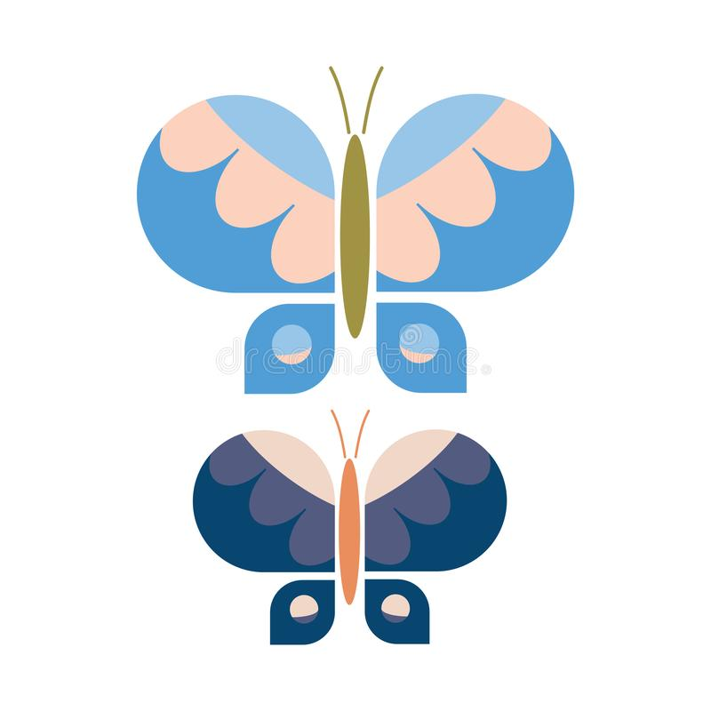 Free Two Retro Geometric Butterfly Vector Illustration. Hand Drawn 60`s Style Garden Insect Simple Motif. Vintage Classic Blue Bug Stock Image - 166417541