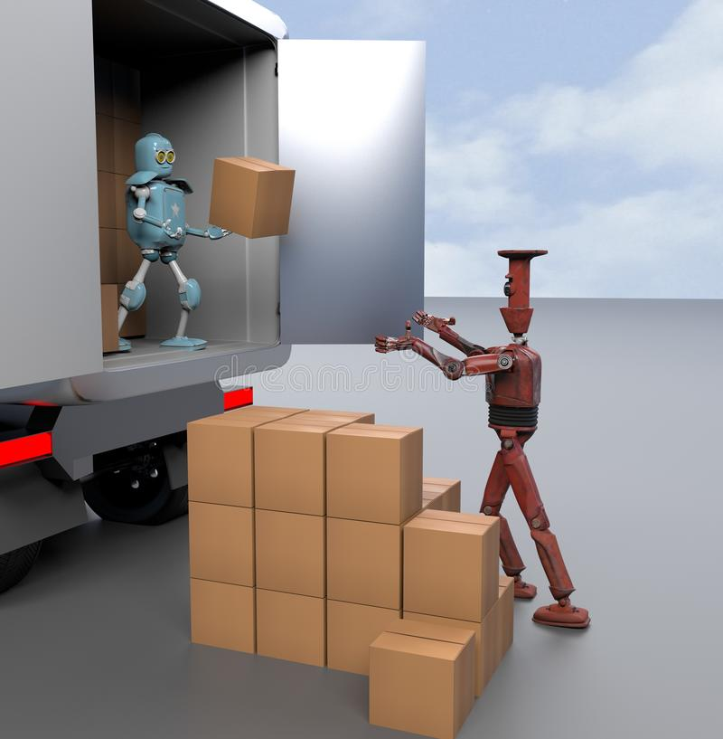 Two retro Robots with Shipping Boxes load in truck Render 3d royalty free illustration