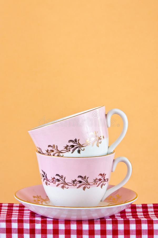 Two Retro Style Teacups Stock Photography