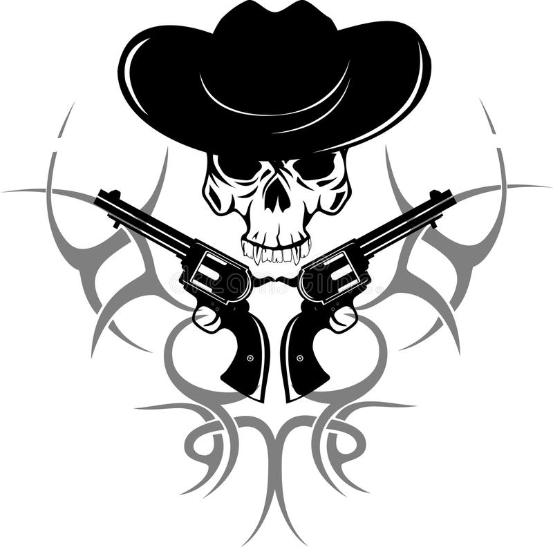 Two Revolvers And  Skull In  Hat Stock Images