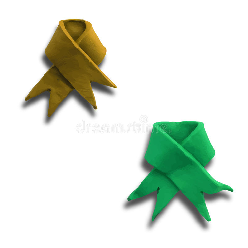 Two Ribbons. Set of Ribbons for use in design, on white background. Vector illustration. Plasticine modeling royalty free illustration