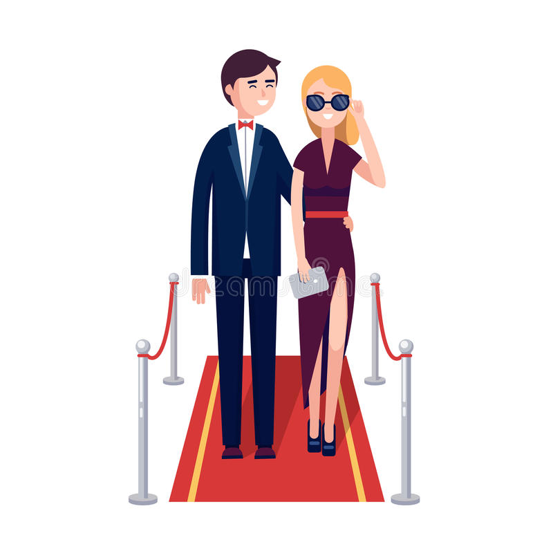 Two Rich Celebrities Walking On A Red Carpet Stock Vector