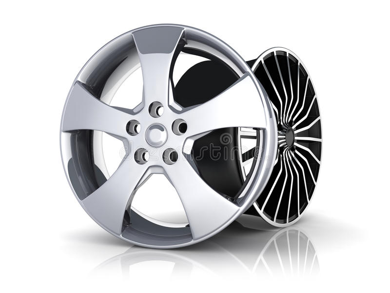 Two Rims. Car on white background (done in 3d royalty free illustration