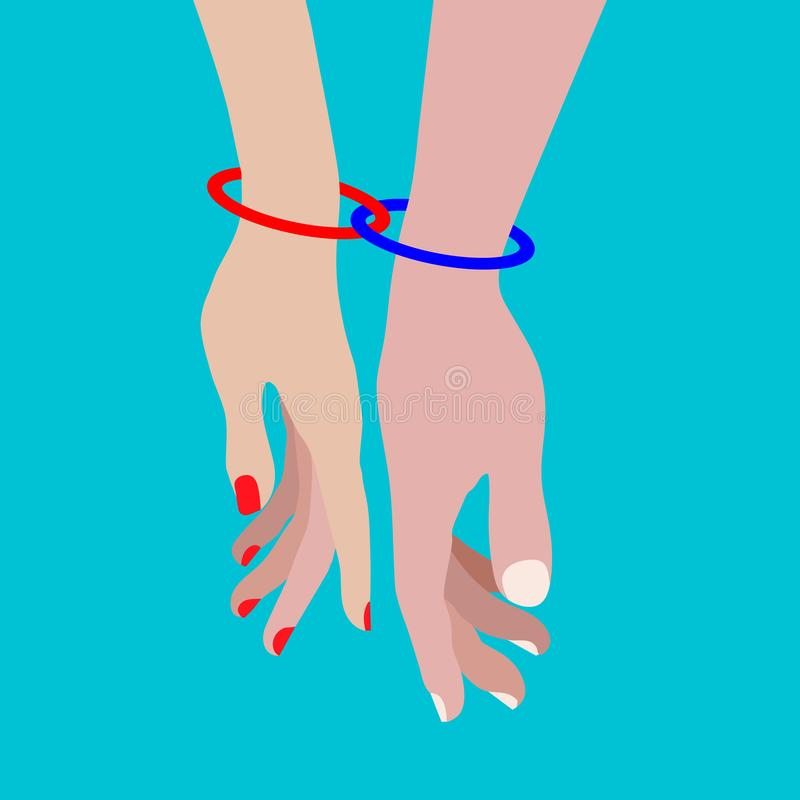 Two rings connect the hands of a couple in love stock illustration