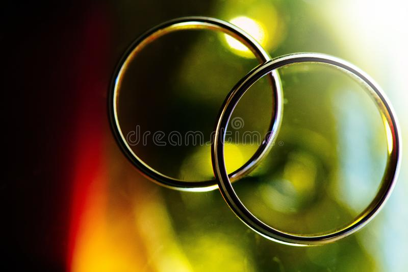 Two rings of wedding close up with blurred background. Two rings of wedding close up celebration blurred background stock photos