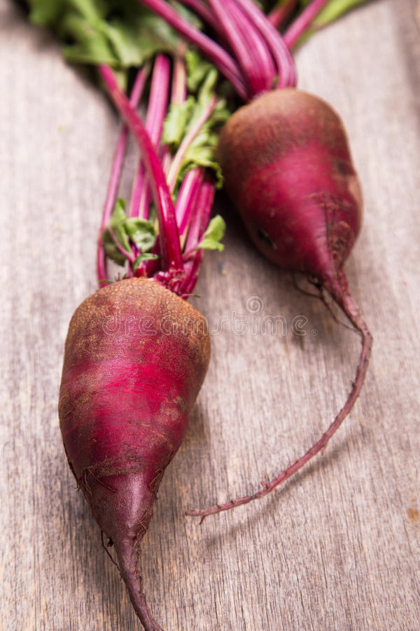 Two ripe beet. Two fresh ripe beet on wooden background in studio stock photo