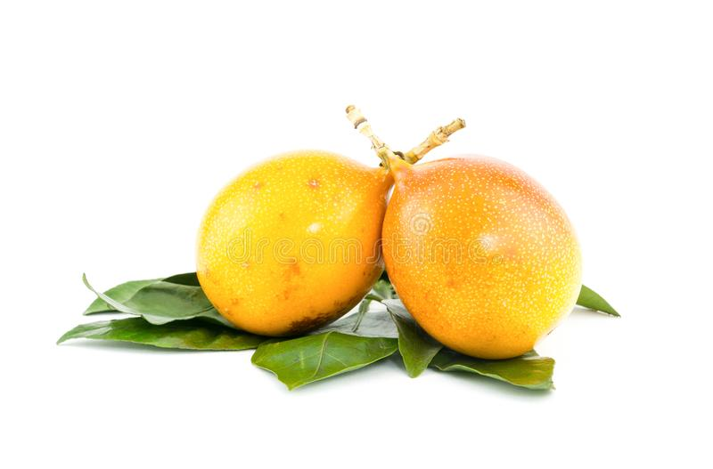 Two ripe exotic fruits of a yellow granadilla, refreshing snack dessert with green leaves on a white background stock image